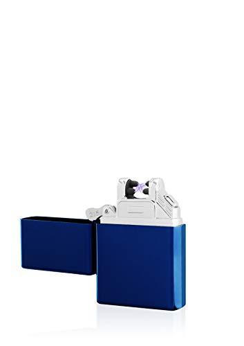TESLA Lighter TESLA Lighter T03 Lichtbogen-Feuerzeug, elektronisches USB Feuerzeug, Double-Arc Lighter, wiederaufladbar, Blau Blau
