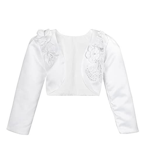 IEFIEL Chaqueta Cardigan de Satén Bolero Boda Fiesta Princesa para Bebé Niña (12 Meses-10 Años) Blanco 12-18 Meses
