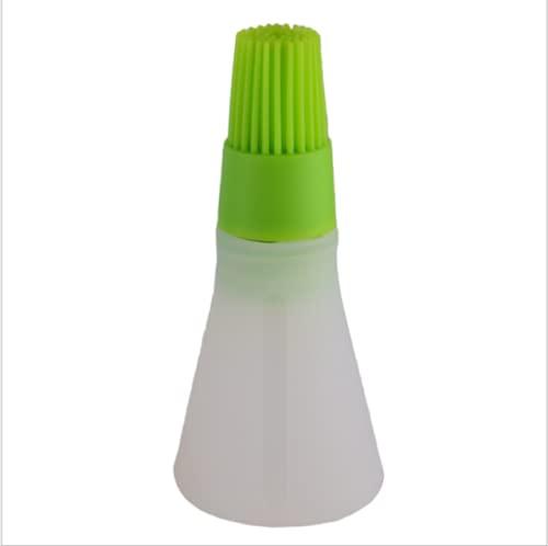 PPuujia 1 botella de aceite de silicona portátil con cepillo para parrilla, cepillos de aceite, aceite líquido, repostería, cocina, utensilios de cocina para barbacoa (color verde)