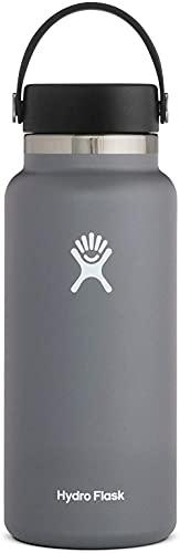 Hydro Flask Trinkflasche 946ml (32oz), Edelstahl und vakuumisoliert, große Öffnung mit auslaufsicherer Flex Cap, Stone