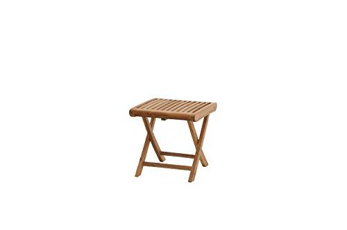 Ploß Fußhocker Arlington aus Teak-Holz - Garten-Schemel klappbar - Gartenhocker für Balkon & Terrasse - Holzhocker leicht für Küche, Bad & Dusche - Outdoor-Hocker mit FSC-Zertifikat
