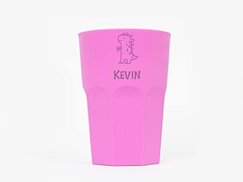 Vaso de plástico de Colores Personalizado con Nombre y Dinosaurio Infantil Grabado...