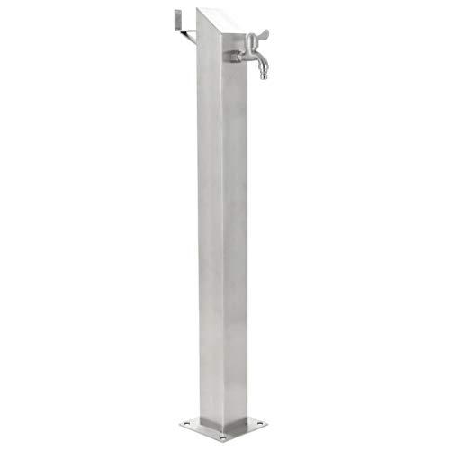 vidaXL Wassersäule Edelstahl 95 cm Wasserzapfsäule Wasserzapfstelle Brunnen