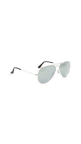 Ray Ban Unisex Sonnenbrille Aviator, Gr. Large (Herstellergröße: 58), Silber (silber W3277)