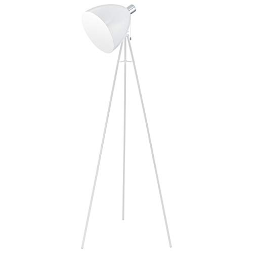EGLO staande lamp, staal, E27, wit/chroom, 60 x 60 x 135,5 cm