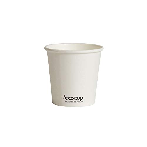 ECOBASED Biologisch Abbaubare Kompostierbare Einweg Pappbecher. Umweltfreundliche Kaffeebecher. 50 Stück 110ml/4oz. Weiß