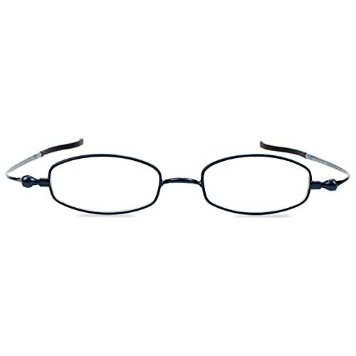 Gafas de Lectura Unisex Marco Plegable de 360 ° Lector de computadora de luz Anti-Azul Ultra Ligero y cómodo Dioptrías +1,00 a +3,00,Azul,+2.00