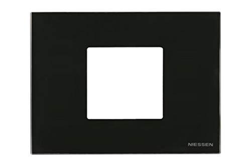 Niessen zenit - Marco 2 módulos zenit caja americana cristal negro