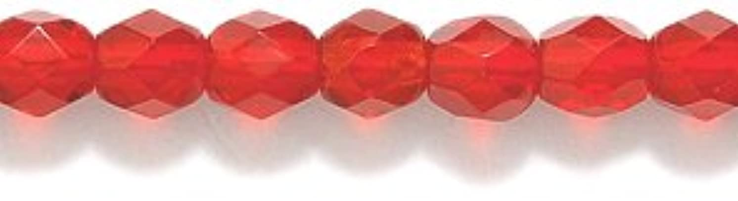 Preciosa Czech 4-mm Fire-Polished Glass Bead, Faceted Round, Transparent Dark Ruby, 300/pack