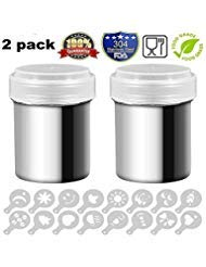 2 Pack Stainless Steel Powder Shakers Mesh Shaker Powder Cans for Coffee Cocoa Cinnamon Powder with Lid, with 16 pcs Printing Molds Stencils