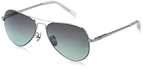 Tommy Hilfiger Men-Women Aviator Sunglasses Silver Frame Green Lens Large