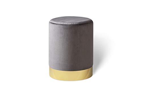LIFA LIVING 30 cm Belle Runder Samt Pouf für den Innenbereich, Zylinderförmiger Samt Hocker mit goldenem Detail, in Grau aus Samt & Metall