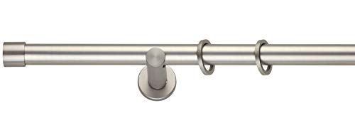 Gardinenstange Stilgarnitur Komplettgarnitur | Metall | Edelstahloptik | 200 cm | Ø 20 mm