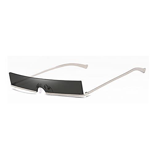 Sonnenbrille Herren Männer Einzigartige Half Frame Sonnenbrille Frauen Mode Rechteck Metall Sonnenbrille Männer Silber-Grau