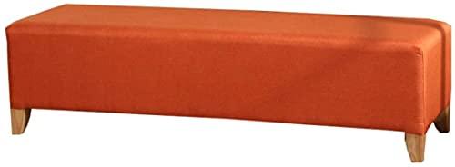 JYHS - Sgabello imbottito in tessuto di lino rettangolare creativo poggiapiedi foyer scarpiera 4 gambe in legno massello poggiapiedi sgabello-OrangeB L120xW40xH40cm confortevole