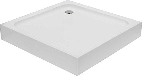 KOMPLETT-PAKET: Duschwanne 90 x 90 x 15 cm Acryl + Schürze + Ablaufgarnitur Siphon