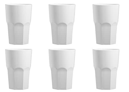 """Garnet Bianco Bicchiere Riutilizzabile """"Granity 40 Latte"""" – Set da 6 Pezzi – Lavabile in lavastoviglie-40 Bordo/ 33-35 cl a Servizio-Made in Italy, Plastica"""