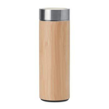 burning desire Botella de agua de bambú respetuosa con el medio ambiente | Botella de bambú de doble pared interior de acero inoxidable a prueba de fugas para té y café de doble pared para el hogar