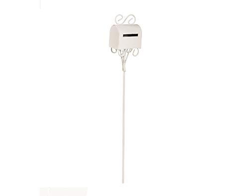 Miniatura 1:10 Escala 19,5 cm Metal Blanco Buzón Carta o Buzón para Jardines de Hadas