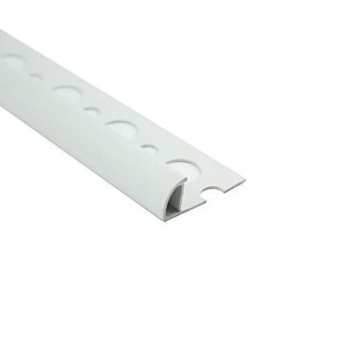 PVC Viertelkreis Fliesenschiene Fliesenprofil Kunststoff weiß L250cm 10mm Profil (10 Stück)