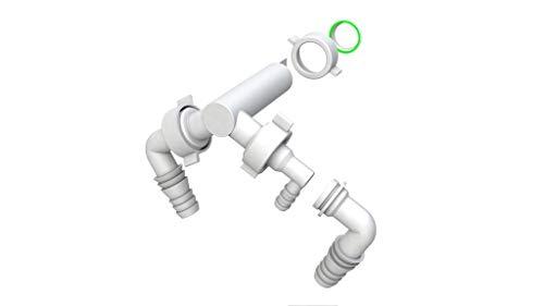Bonomini | Doppelanschluss für Waschmaschine und Trockner | Anschluss für Waschmaschine, Trockner oder Geschirrspüler | für Einbau-Siphons, weiß