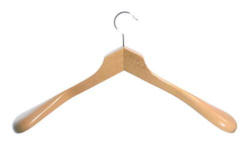 Hagspiel Lot de 10 cintres en bois laqué naturel avec épaules extra larges, 50 cm, taille spéciale