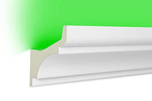 HEXIM LED Stuckleisten aus PU - Indirekte Beleuchtung mit modernen Deckenleisten, lichtundurchlässig, leicht und schlagzäh - (20 Meter Sparpaket LED-2 80x80mm) Zierprofil, Stuck, Deckenbeleuchtung