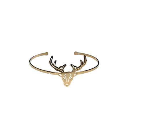 Ikita POpup-bijOux - Bracciale a forma di cervo, in acciaio dorato, regolabile
