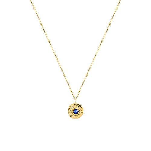 ShSnnwrl Colgante Collar con Colgante de Piedra de ópalo Azul Retro para Mujer, Collares de Disco de Moneda Francesa Vintage, Gar