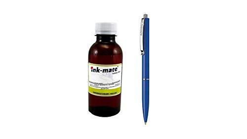 Ink-Mate Recambio de botella de tinta compatible para HP C9363EE (344) amarillo 200 ml y bolígrafo Schneider
