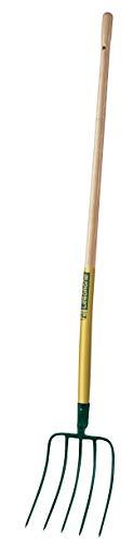 Leborgne Fourche à fumier à douille 5 dents, Largeur: 22 cm, Manche bois 130 cm, Acier forgé et trempé