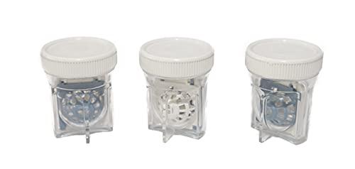 SPORTS WORLD VISION Sclera Estuche para lentes de contacto (3 piezas) Recipiente de limpieza para lentes de contacto en forma de barril fácil de transportar para uso diario
