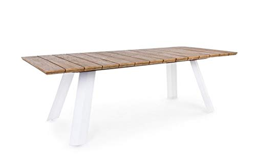 PEGANE Table Coloris Blanc - Dim : L 240 x P 100 x H 76 cm