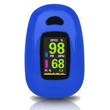 saturímetro de dedo con sensor de saturación de oxígeno y pulsómetro de diferentes colores con pantalla OLED (A).