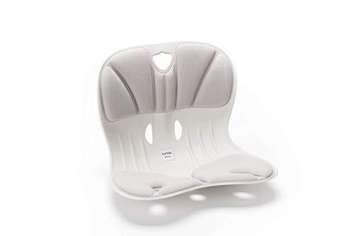 Burbach + Goetz Curble Wider Premium Grau, Sitz mit Rückenschale & Polsterung, gesunde Sitzkorrektur Positionierung im Büro, HomeOffice zu Hause, Freizeit