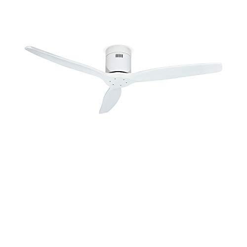 CREATE IKOHS WINDCALM DC-Ventilador de Techo con Mando,Bajo Consumo,Función Verano e Invierno, Silencioso,Potente, 3 Aspas,132 cm de Diámetro, 6 Velocidades,Temporizador, Aspas de Madera, 40W (Blanc