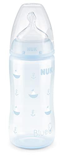 NUK biberón First Choice+   0-6 meses   Control de temperatura   Tetina de silicona   Válvula anticólica   Sin BPA   300 ml   Azul