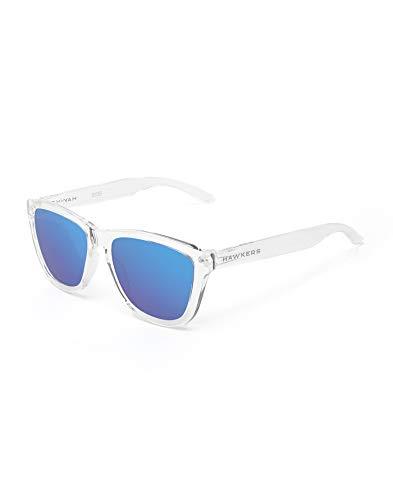 HAWKERS Gafas de Sol, Hombre y Mujer, con Montura Transparente y Lente Azul con Efecto Espejo, Protección UV400, Air · Sky TR18, One Size Unisex-Adult