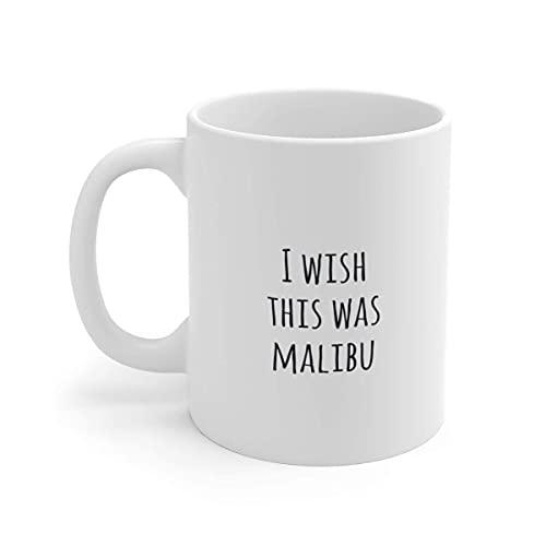Novedad Taza de cerámica Malibu Gift Malibu Rum Funny Mug Gift Regalos divertidos de cumpleaños Regalo para compañeros de trabajo Regalos de ron Malibu Mug Mug Gift 11 oz White Mug Festival Birthday