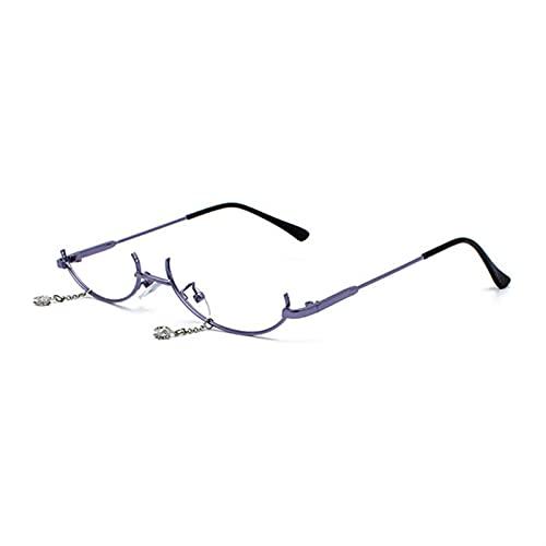 Gafas de lectura populares vintage inferior mitad marco sin lentes para mujer, marco de gota de agua, cadena decorativa con marco vacío (color: morado, tamaño: +100)