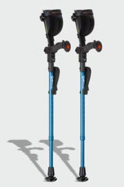 Ergobaum Jr. Forearm Crutches with Shock Absorbers for Users 3'9'' to 5' in Height, with Ergonomic Handle Grips, All-Terrain Ultralite Non-Slip Rubber Tips, Knee-Rest Platforms, LED Light (Blue)