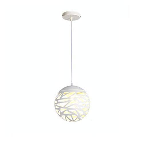 WFZRXFC Luz colgante de color sólido medio hueco blanco E27 Lámpara de techo de estilo industrial retro Decoración de casa de campo Iluminación de techo Dormitorio en casa Comedor Decoración de sala d