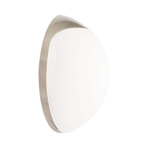 WAGNER Design-Wand-Türstopper Screw OR Glue/Schrauben oder Kleben - Durchmesser Ø 38 x 16 mm, Metall gebürstet, Edelstahloptik, thermoplastischer Kautschuk, weiß, Designpreis - 15513011