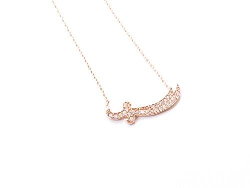 Remi Bijou 925 Sterling Silber Halskette Zülfikar Schwert Ali Aleviten Osmanli - Rosegold Farbe