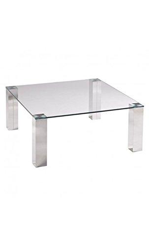 CAMINO A CASA - Table Basse 90 x 90 cm Verre et Chrome Tower
