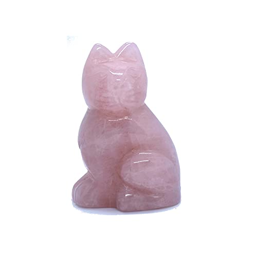 Rosa cristal gato natural jade a mano tallado rosa cristal gato tallado ornamentos gema artesanía (Size : Rosa)