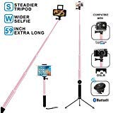 Selfie Stick Tripod, Remote 59Inch MFW Extendable Monopod with Tripod for iPhone 12/12 PRO/11/11 PRO/X/XS max/XR/8/7/6/Plus,iPad,Samsung S9 S7/S8, LG, Google Pixel Android,GoPro Cameras ( Rose Gold )