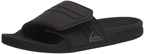 Quiksilver mens Rivi Slide Adjust Flip Flop, Black/Grey/Black, 11 US