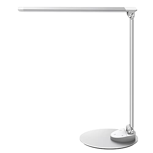 Schreibtischlampe LED, Metall Tischlampe mit 5 Helligkeitsstufen und 5 Lichtfarben, Ultradünne Alu Tageslichtlampe USB-Anschluss für Aufladung Smartphones leselampe Touchscreen (Silber)