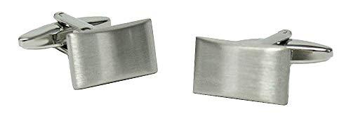 Unbekannt Elegante Manschettenknöpfe silbern matt dezent rechteckig nach aussen gebogen + Geschenkbox